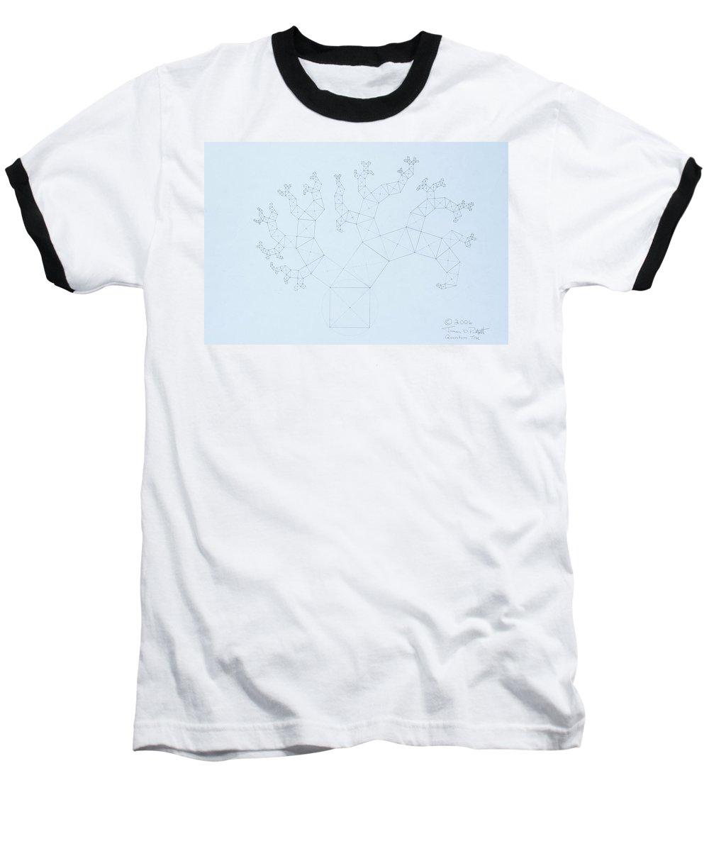 Fractal Tree Baseball T-Shirt featuring the drawing Quantum Tree by Jason Padgett