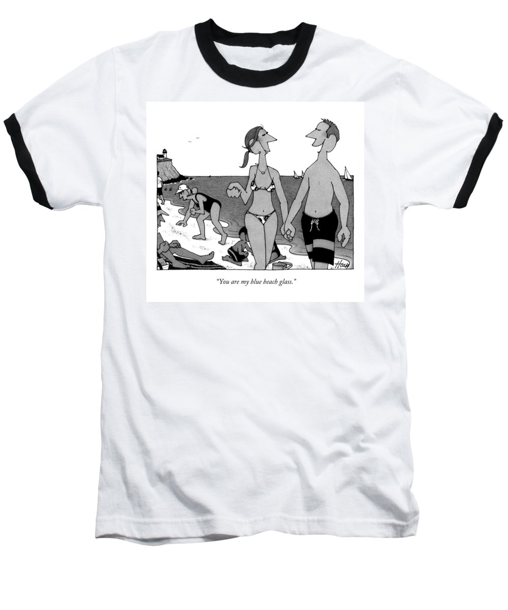 Beach Baseball T-Shirt featuring the drawing You Are My Blue Beach Glass by William Haefeli