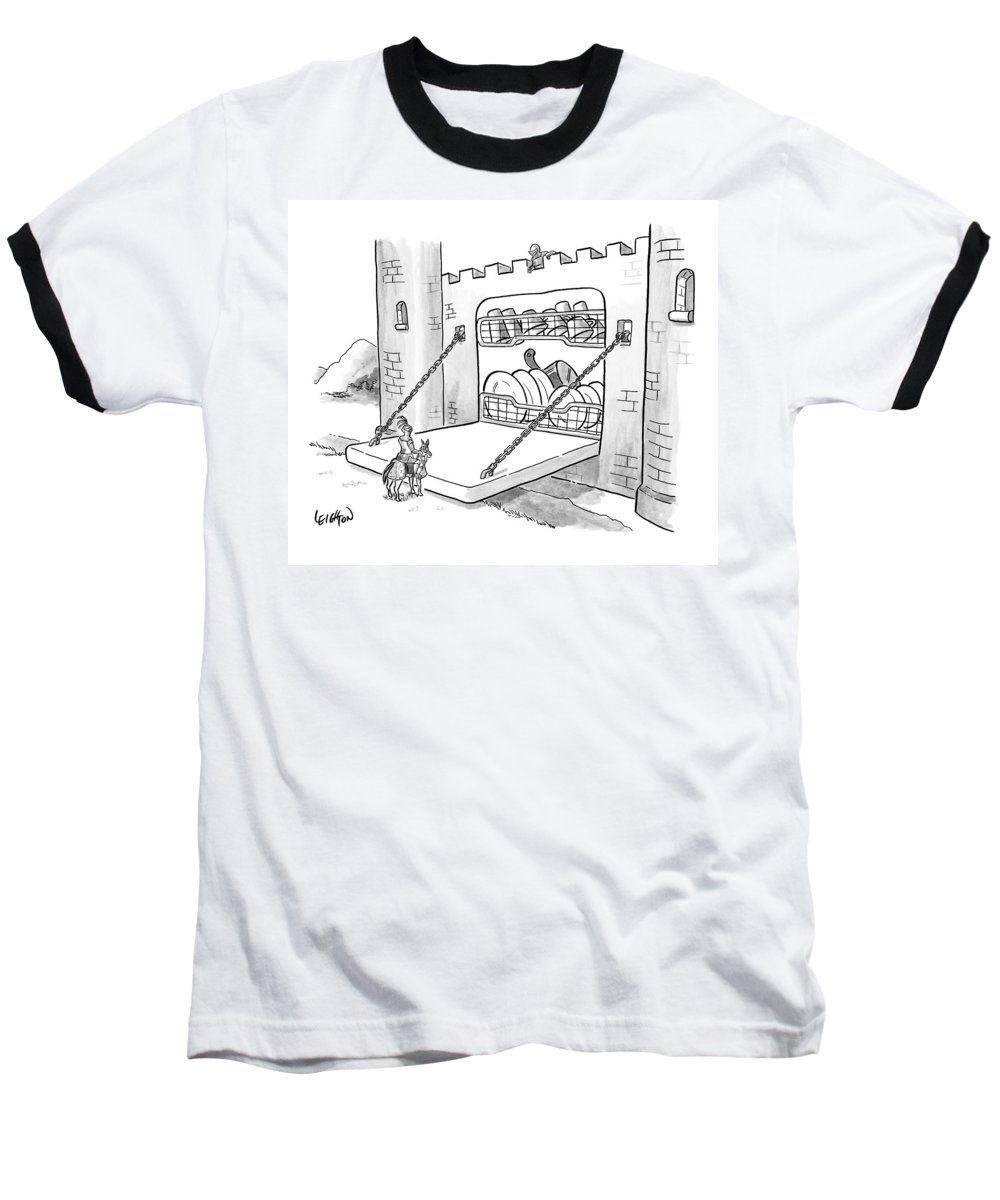 Knight Baseball T-Shirt featuring the drawing New Yorker September 7th, 2009 by Robert Leighton
