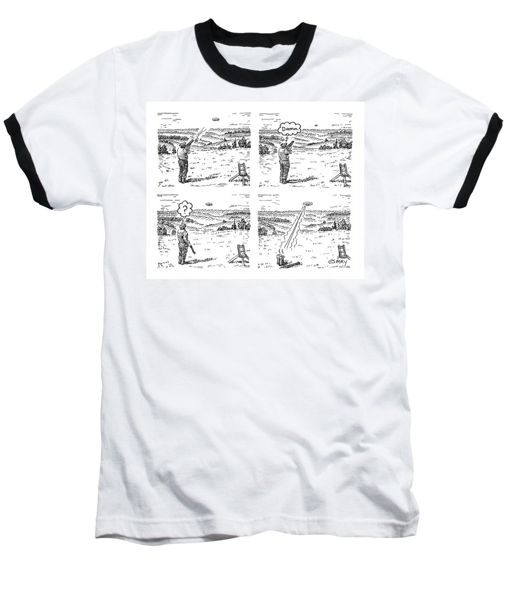 4 Panels. Man Shoots At A Grout Which Then Turns Out To Be An Alien Spacecraft That Shoots Him.  Media Id 133711 Baseball T-Shirt featuring the drawing 4 Panels. Man Shoots At A Grout Which Then Turns by Rob Esmay