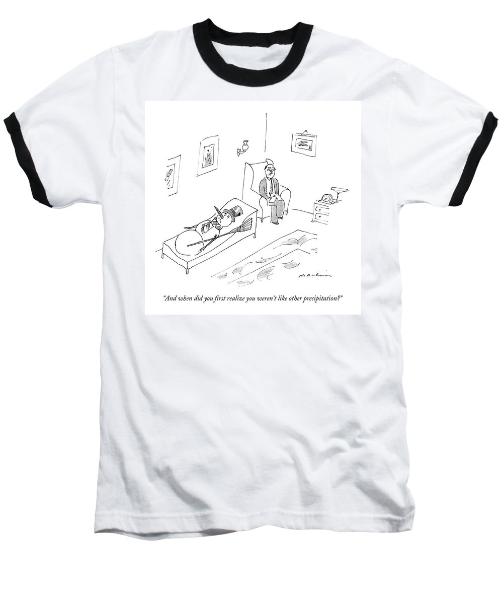 Snowman Baseball T-Shirt featuring the drawing And When Did You First Realize You Weren't Like by Michael Maslin