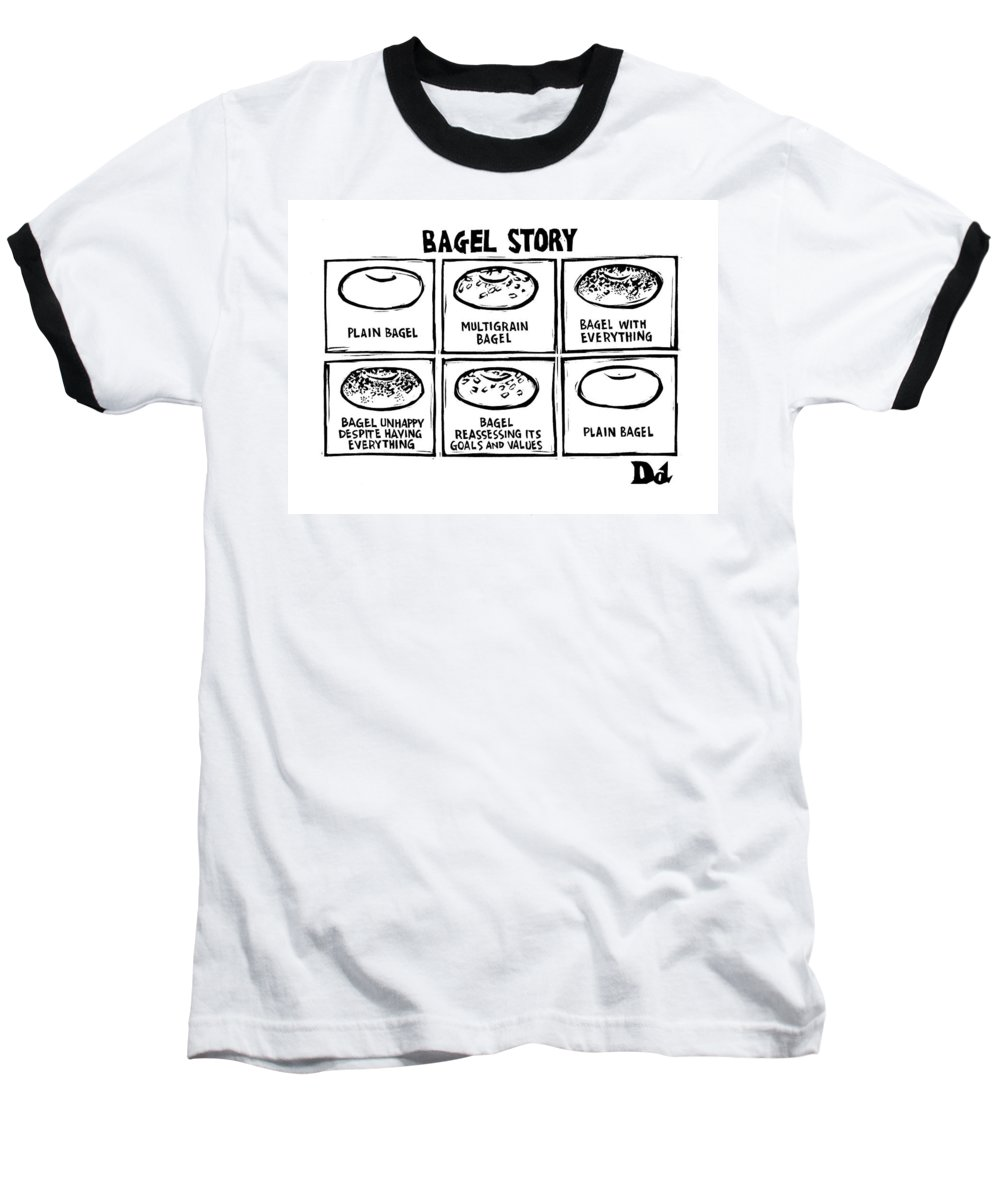 Bagel Story Baseball T-Shirt featuring the drawing New Yorker January 28th, 2008 by Drew Dernavich