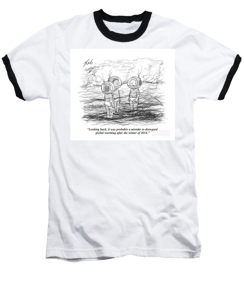 #condenastnewyorkercartoon Baseball T-Shirt featuring the drawing Looking Back by Tom Toro