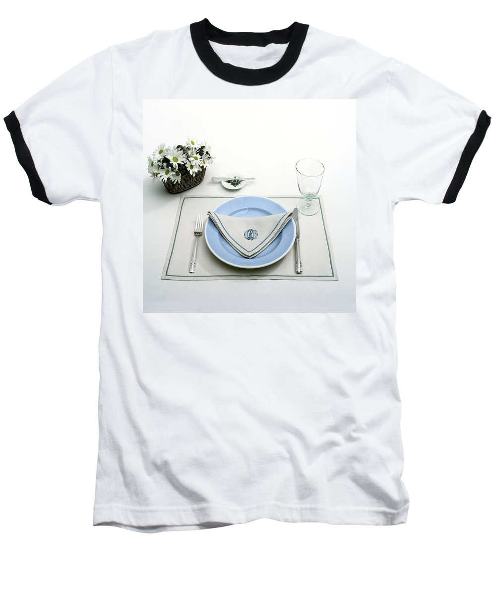 Utensils Baseball T-Shirt featuring the photograph A Blue Table Setting by Haanel Cassidy