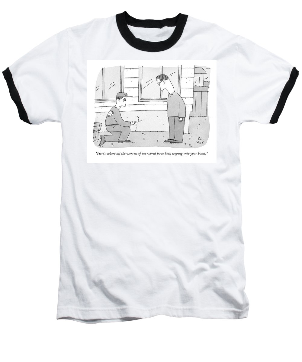 Worry Baseball T-Shirt featuring the drawing A Carpenter Examines A Crack On The Base by Peter C. Vey