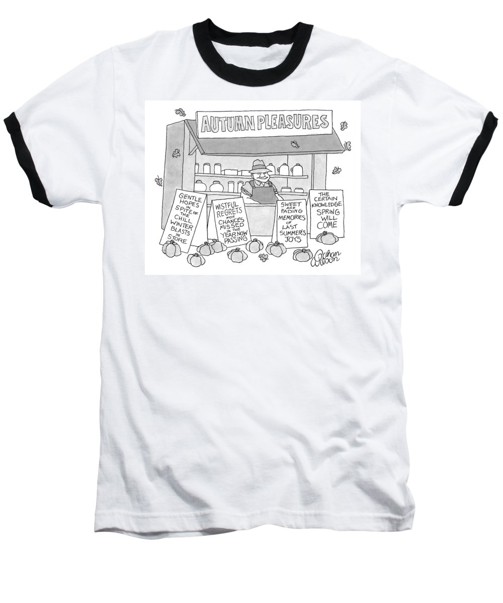 Seasons Baseball T-Shirt featuring the drawing A Country Stand With The Title by Gahan Wilson