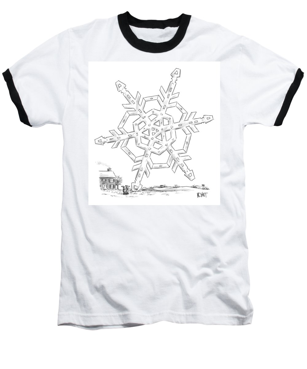 Snow Baseball T-Shirt featuring the drawing A Couple Stand Outside Of Their House by Christopher Weyant