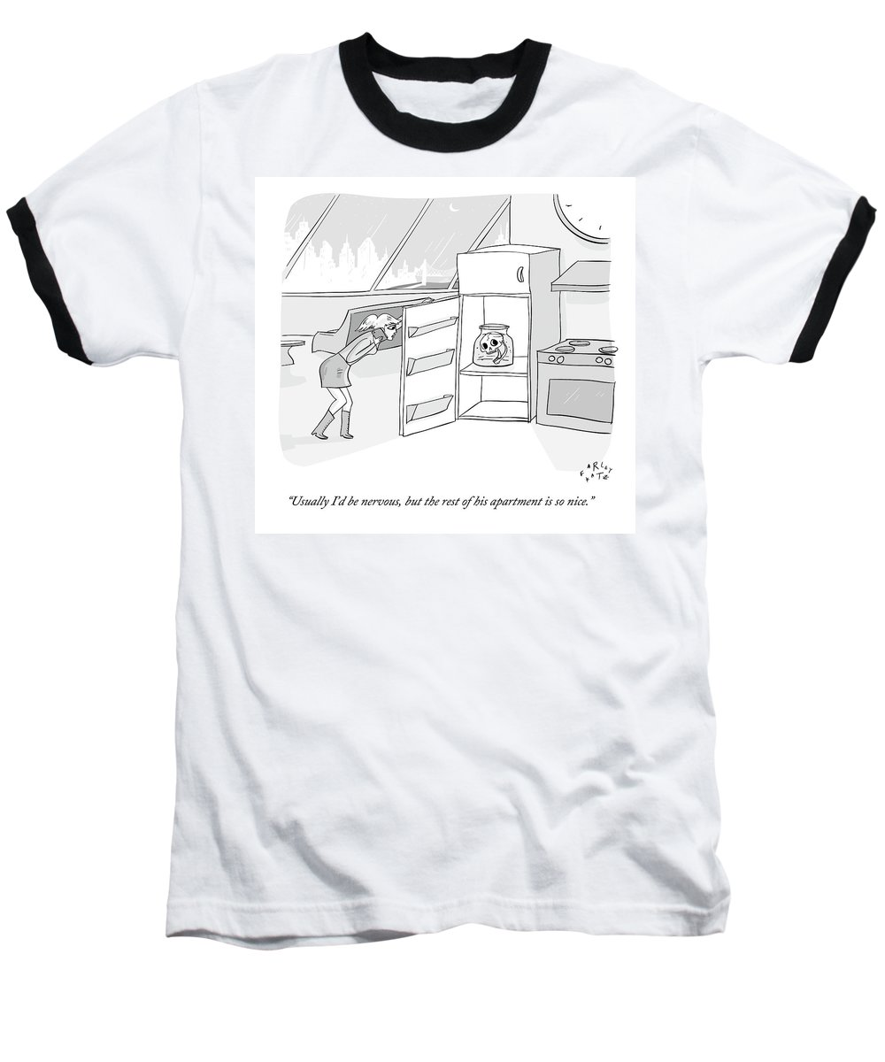 Date Baseball T-Shirt featuring the drawing A Girl Who Is Talking On The Phone Opens A Fridge by Farley Katz
