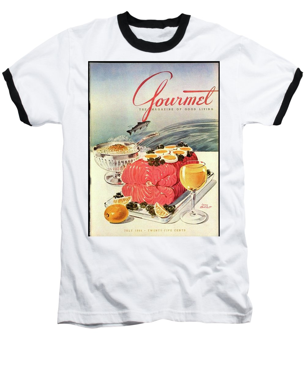 Food Baseball T-Shirt featuring the photograph A Gourmet Cover Of Poached Salmon by Henry Stahlhut