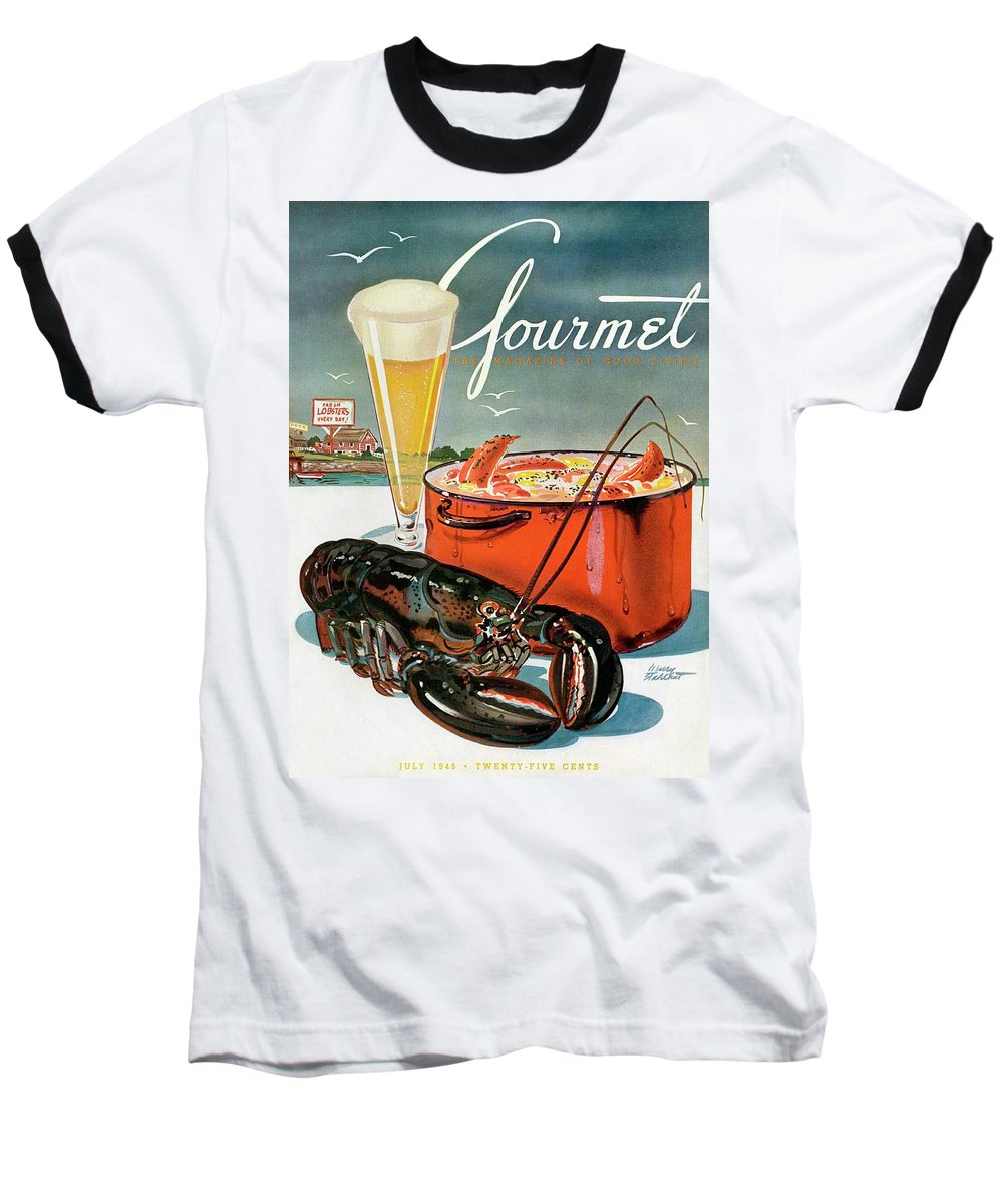 Illustration Baseball T-Shirt featuring the photograph A Lobster And A Lobster Pot With Beer by Henry Stahlhut
