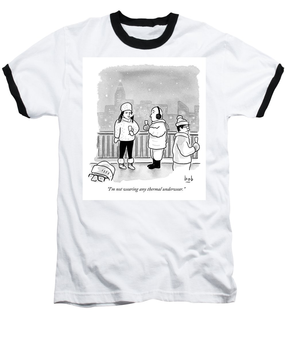 Sex Baseball T-Shirt featuring the drawing A Man And Woman Holding Champagne And Dressed by Bob Eckstein