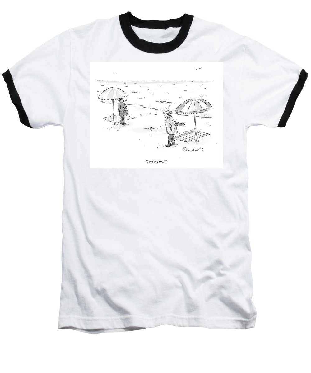 Winter Baseball T-Shirt featuring the drawing A Man Bundled Up In Winter Gear Departs by Danny Shanahan
