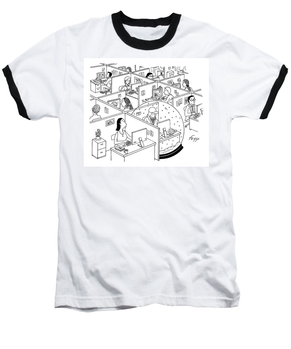 Snow Globe Baseball T-Shirt featuring the drawing A Man Is Seen Sitting In An Oversized Snow Globe by Felipe Galindo