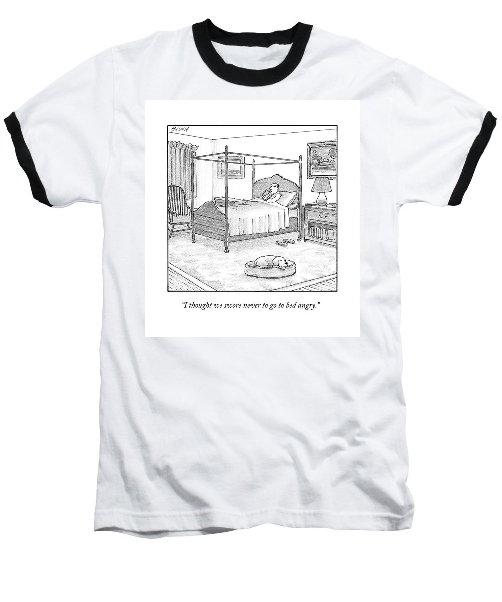 Dogs Baseball T-Shirt featuring the drawing A Man Lies In Bed by Harry Bliss