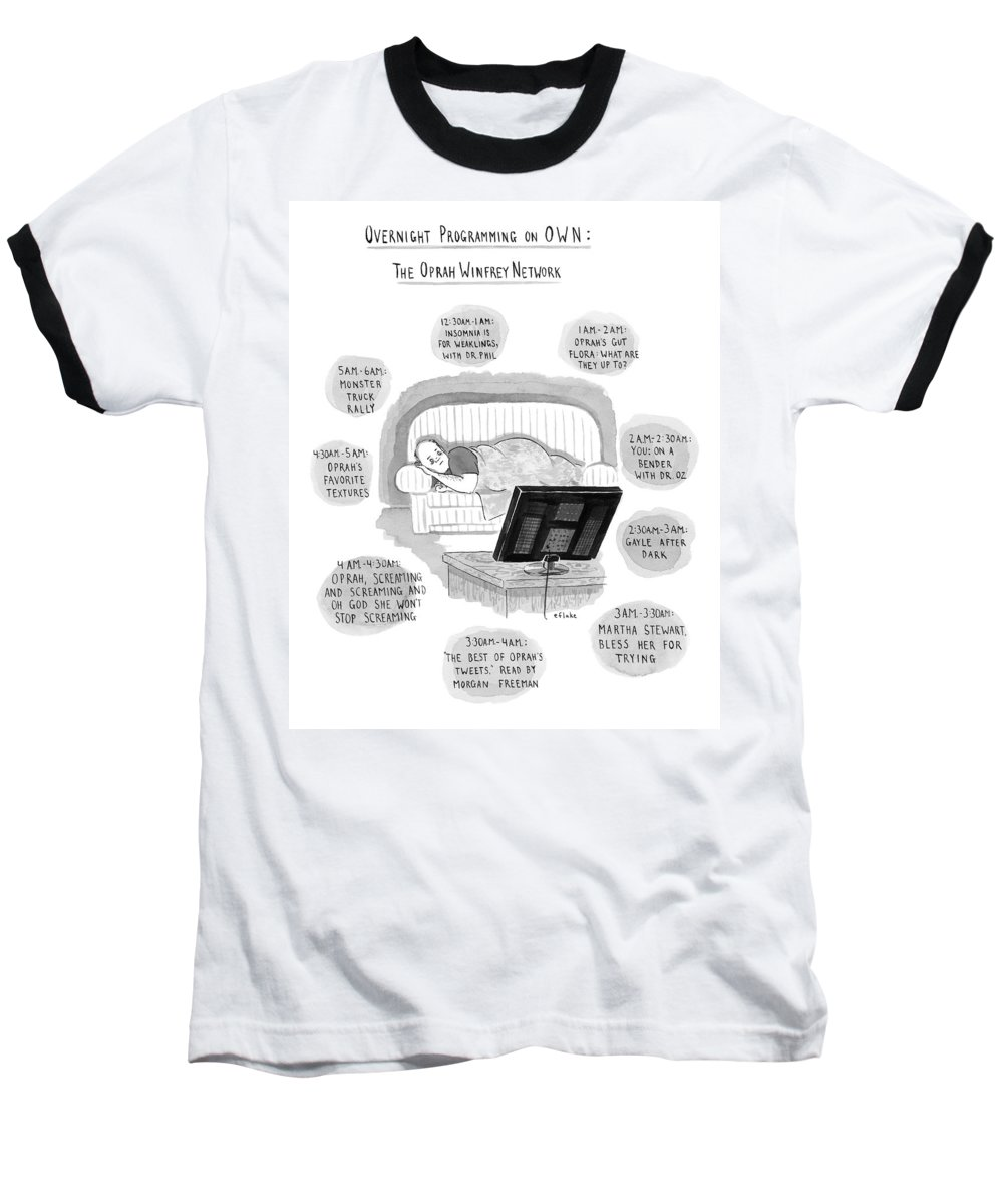 Oprah Baseball T-Shirt featuring the drawing A Man Lies On A Couch by Emily Flake
