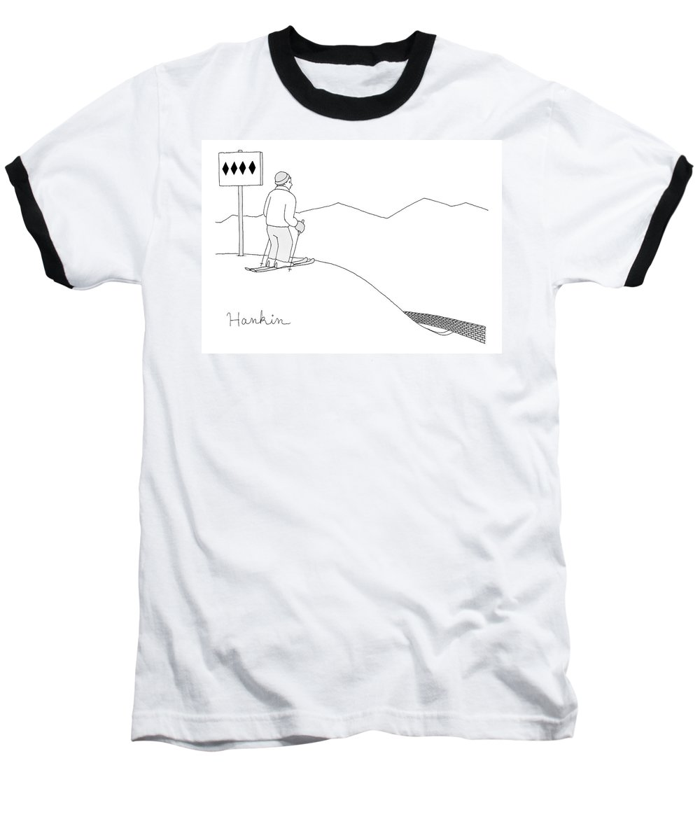 Captionless Baseball T-Shirt featuring the drawing A Man Stands At The Top Of A Ski Slope by Charlie Hankin
