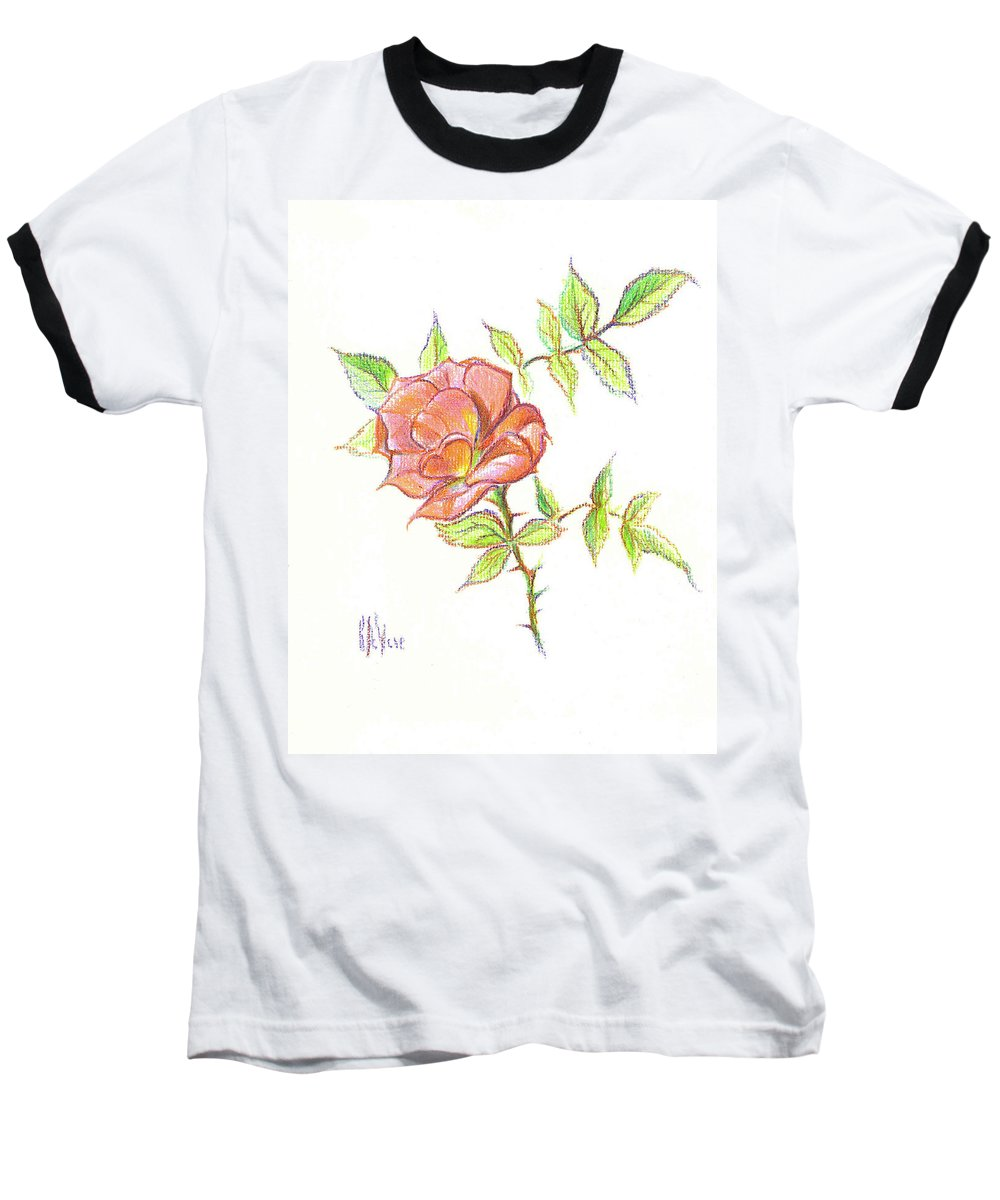 A Rose In Brigadoon Baseball T-Shirt featuring the drawing A Rose In Brigadoon by Kip DeVore