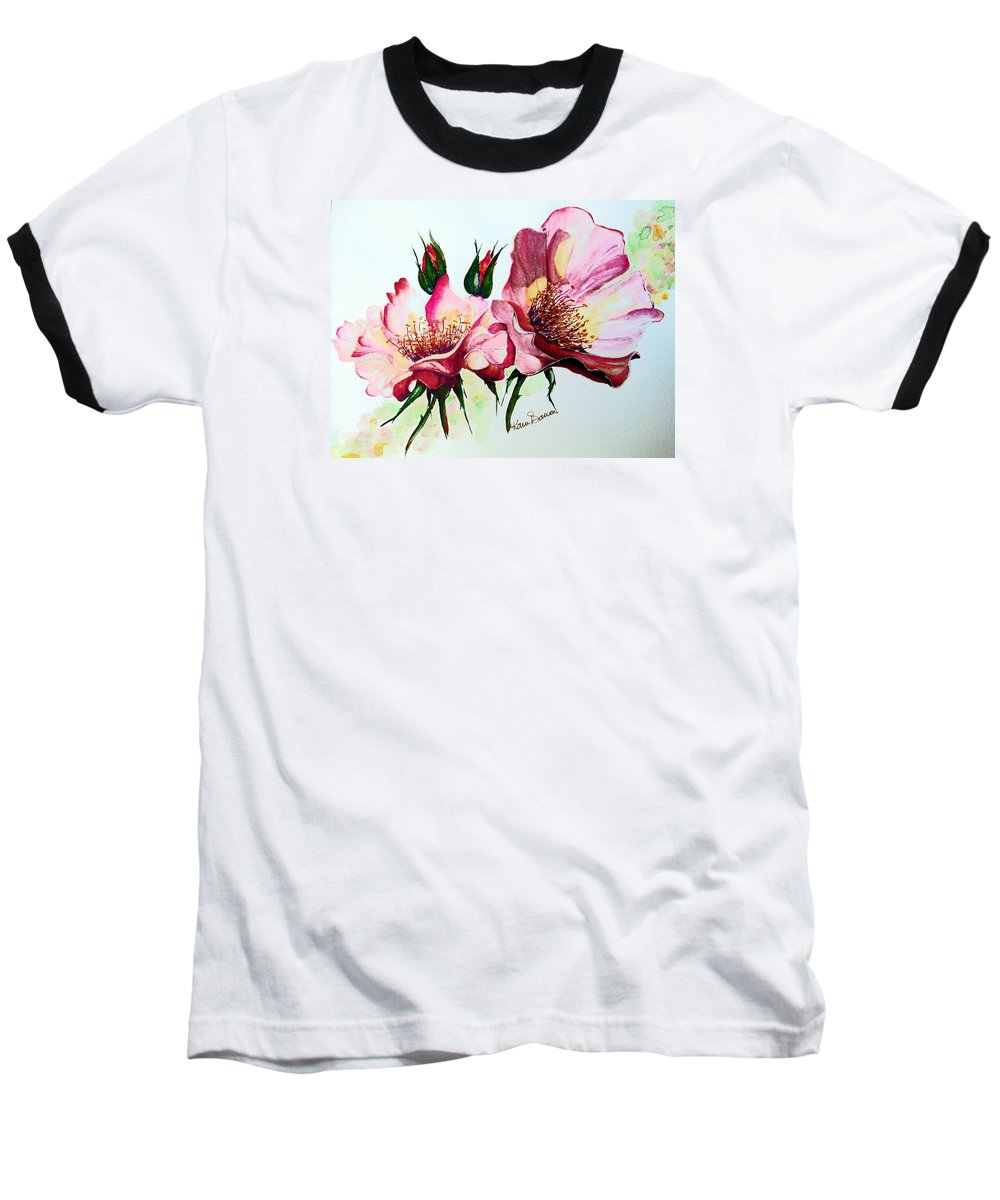 Flower Painting Baseball T-Shirt featuring the painting A Rose Is A Rose by Karin Dawn Kelshall- Best