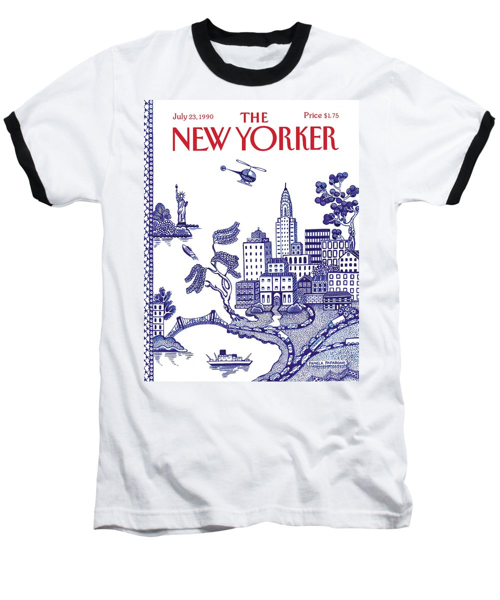 New York City Baseball T-Shirt featuring the painting A View Of New York City by Pamela Paparone