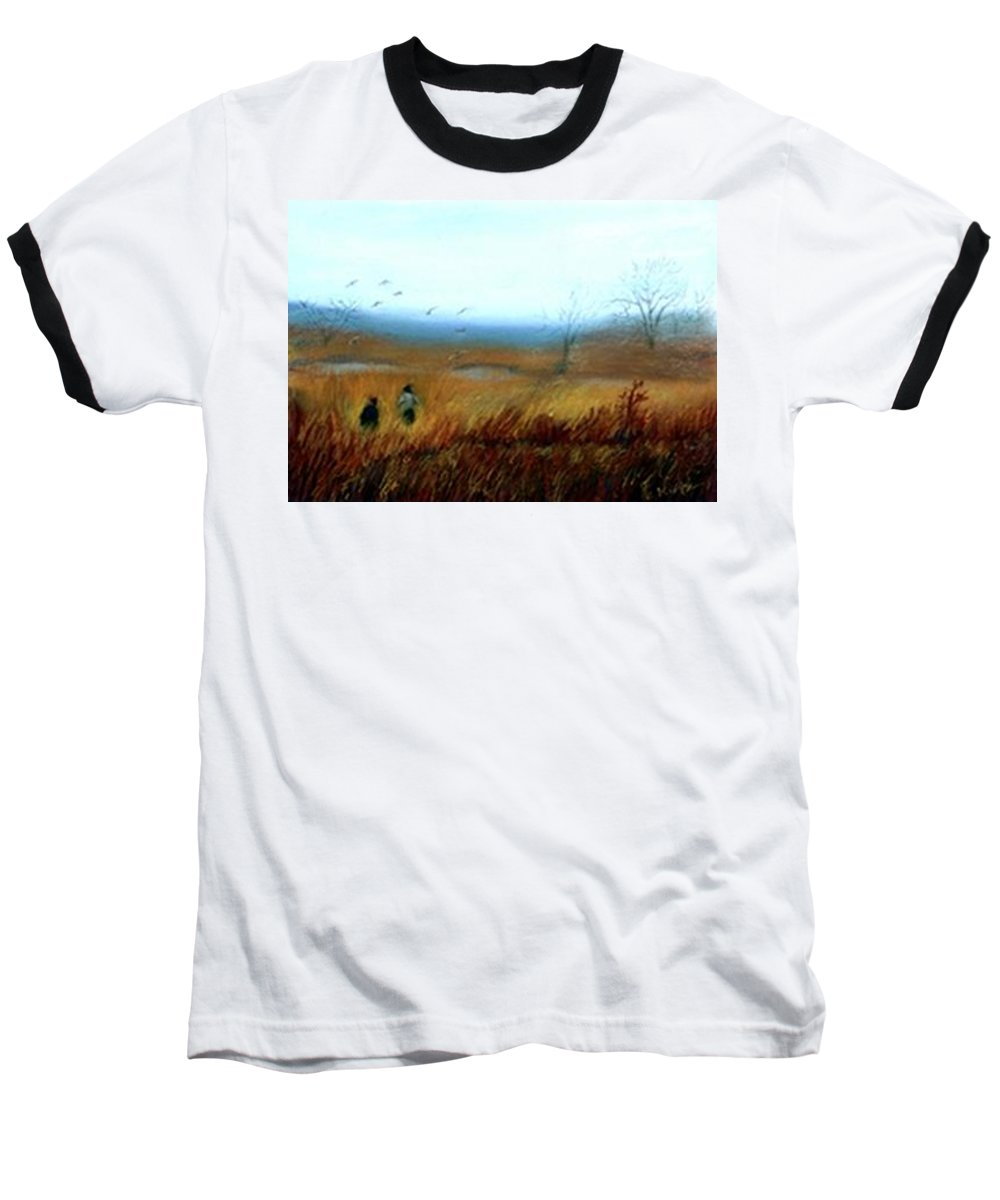 Figures Baseball T-Shirt featuring the painting A Winter Walk by Gail Kirtz