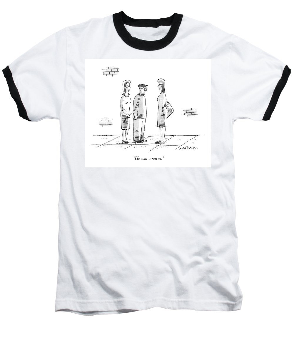 Control Baseball T-Shirt featuring the drawing A Woman Holds A Man On A Leash While Talking by Mick Stevens