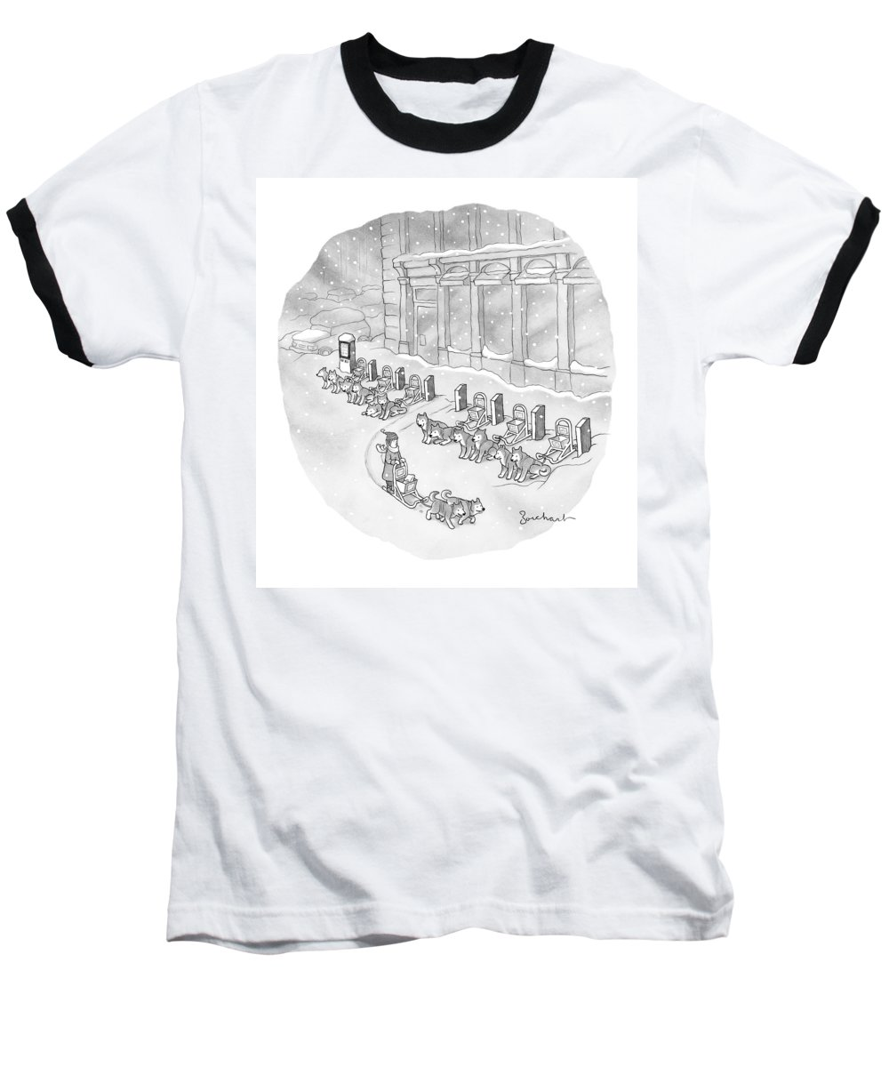 Citi Bike Baseball T-Shirt featuring the drawing A Woman Rents A Dog Sled Out Of A Row Of Kiosks by David Borchart