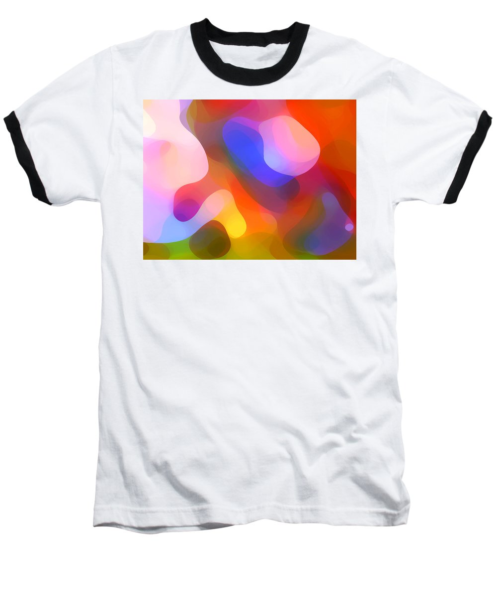 Abstract Art Baseball T-Shirt featuring the painting Abstract Dappled Sunlight by Amy Vangsgard
