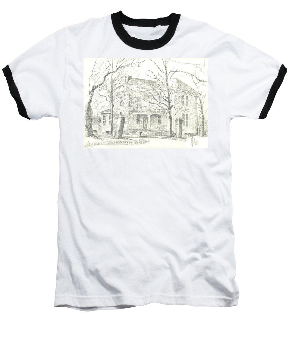 American Home Ii Baseball T-Shirt featuring the drawing American Home II by Kip DeVore