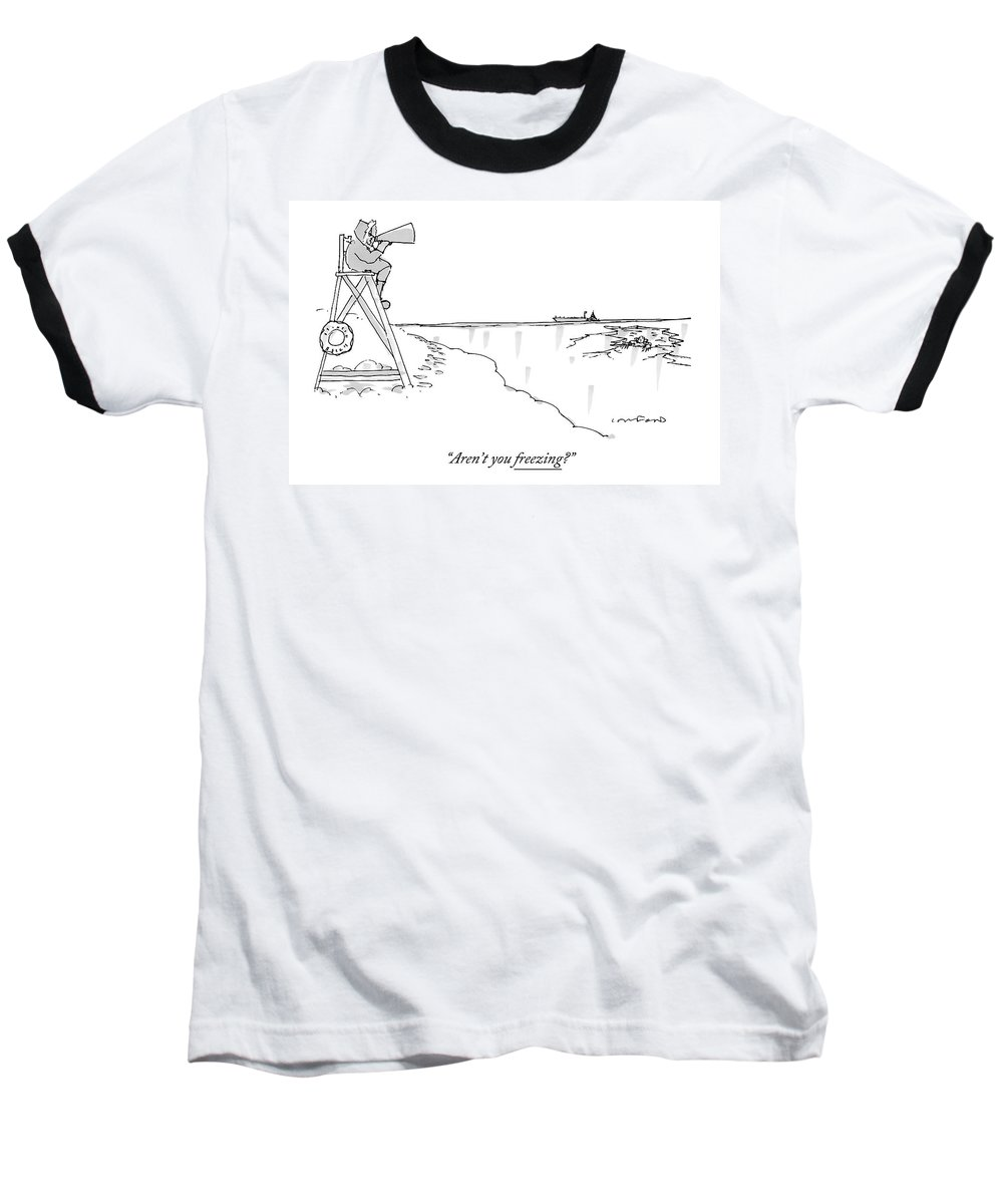 Beach Baseball T-Shirt featuring the drawing An Eskimo With A Megaphone Sits Atop A Lifeguard by Michael Crawford