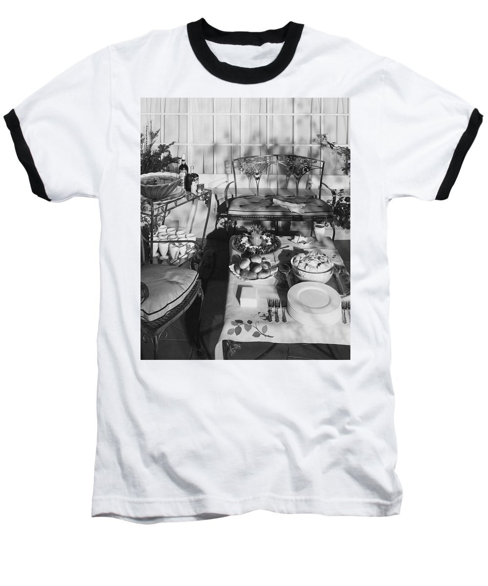 Exterior Baseball T-Shirt featuring the photograph An Outdoor Dining Set Up by Haanel Cassidy