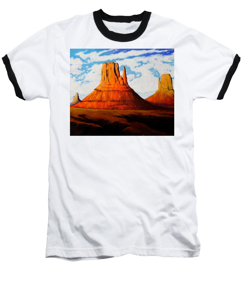 Landscape Of Western Usa Baseball T-Shirt featuring the painting Ancient Land Monument Valley by Joe Triano