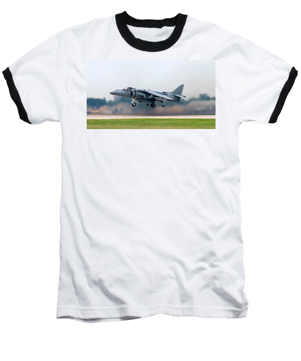 3scape Baseball T-Shirt featuring the photograph Av-8b Harrier by Adam Romanowicz
