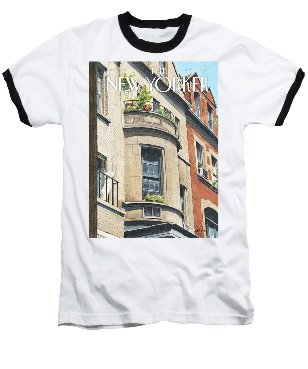 Dog Baseball T-Shirt featuring the painting Balcony Scene by Harry Bliss