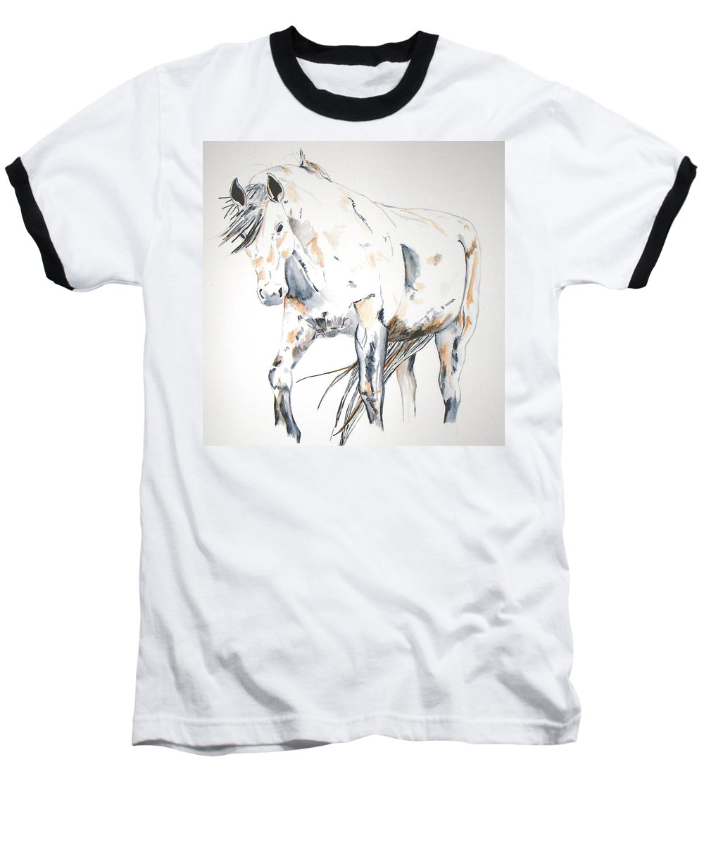 Horse Baseball T-Shirt featuring the painting Beauty by Crystal Hubbard