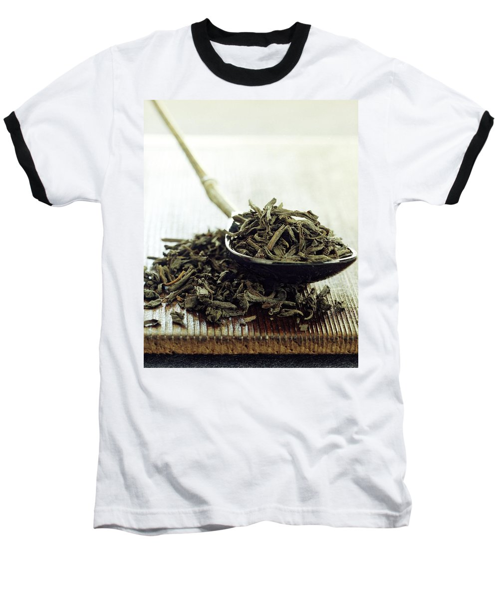 Beverage Baseball T-Shirt featuring the photograph Black Tea Leaves by Romulo Yanes