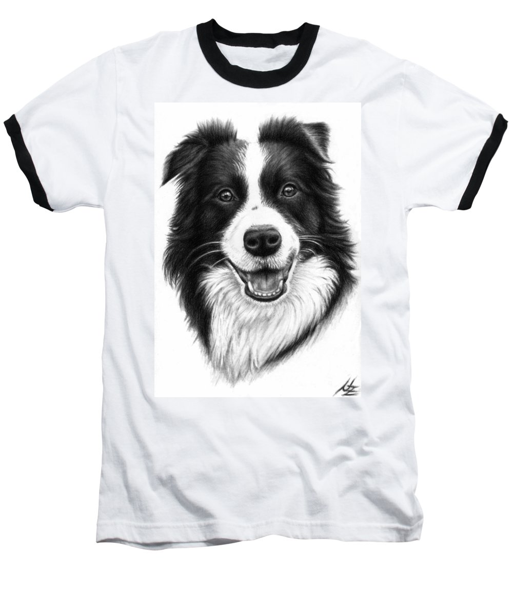 Dog Baseball T-Shirt featuring the drawing Border Collie by Nicole Zeug