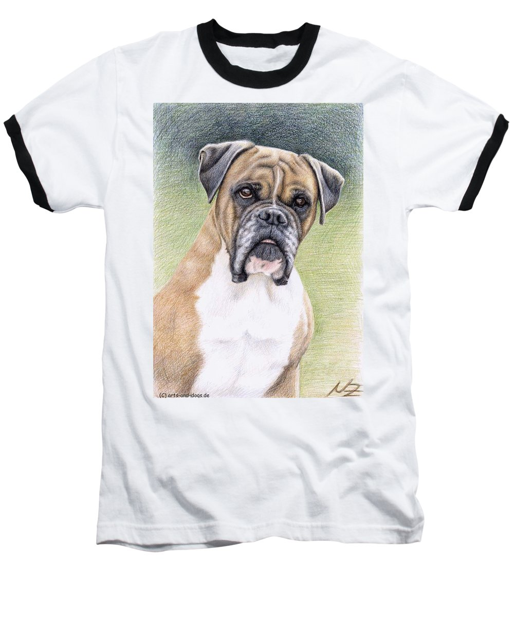 Dog Baseball T-Shirt featuring the drawing Boxer Portrait by Nicole Zeug
