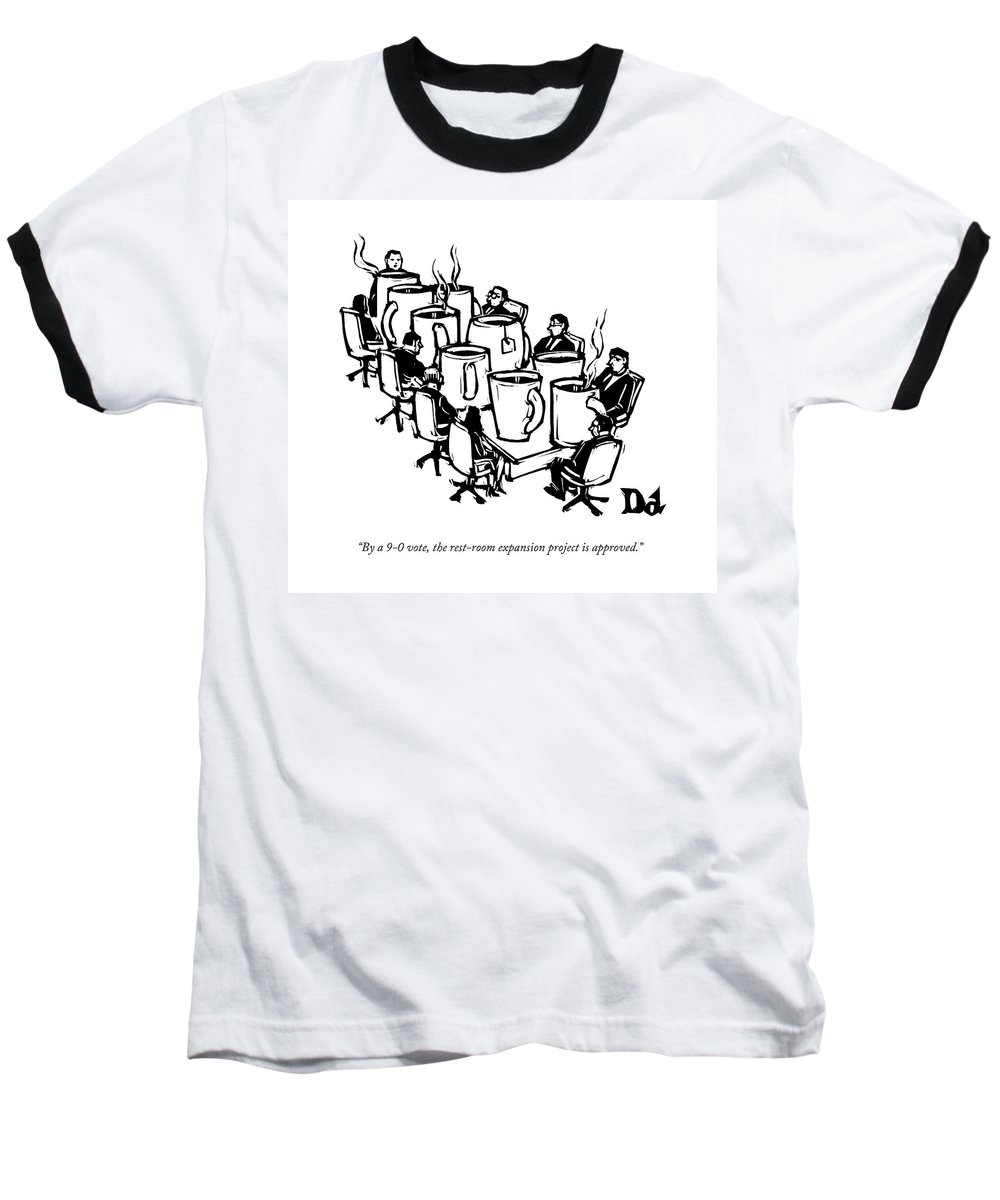 Captionless Baseball T-Shirt featuring the drawing Businessmen Sit Around Conference Table by Drew Dernavich