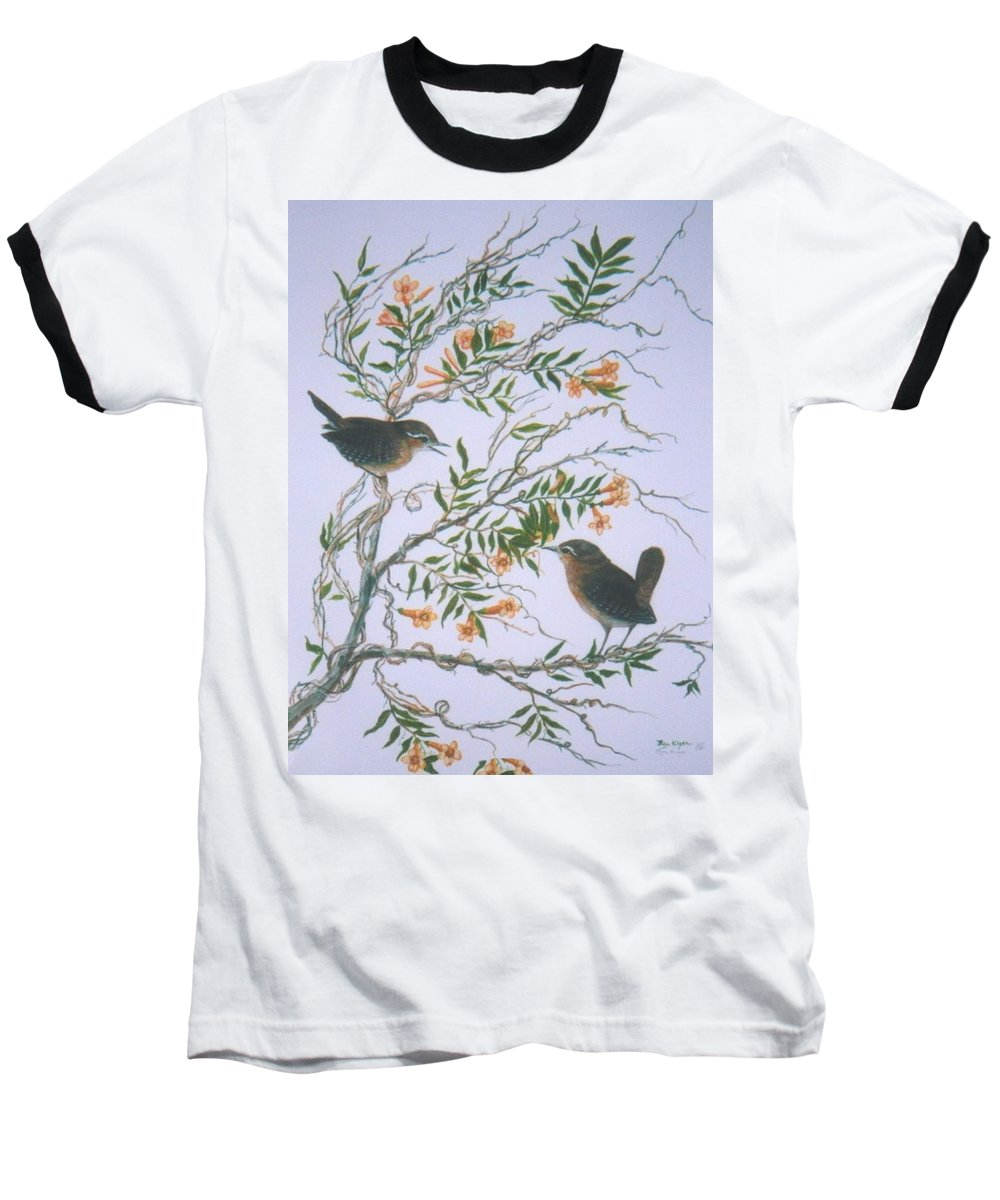 Bird; Flowers Baseball T-Shirt featuring the painting Carolina Wren And Jasmine by Ben Kiger