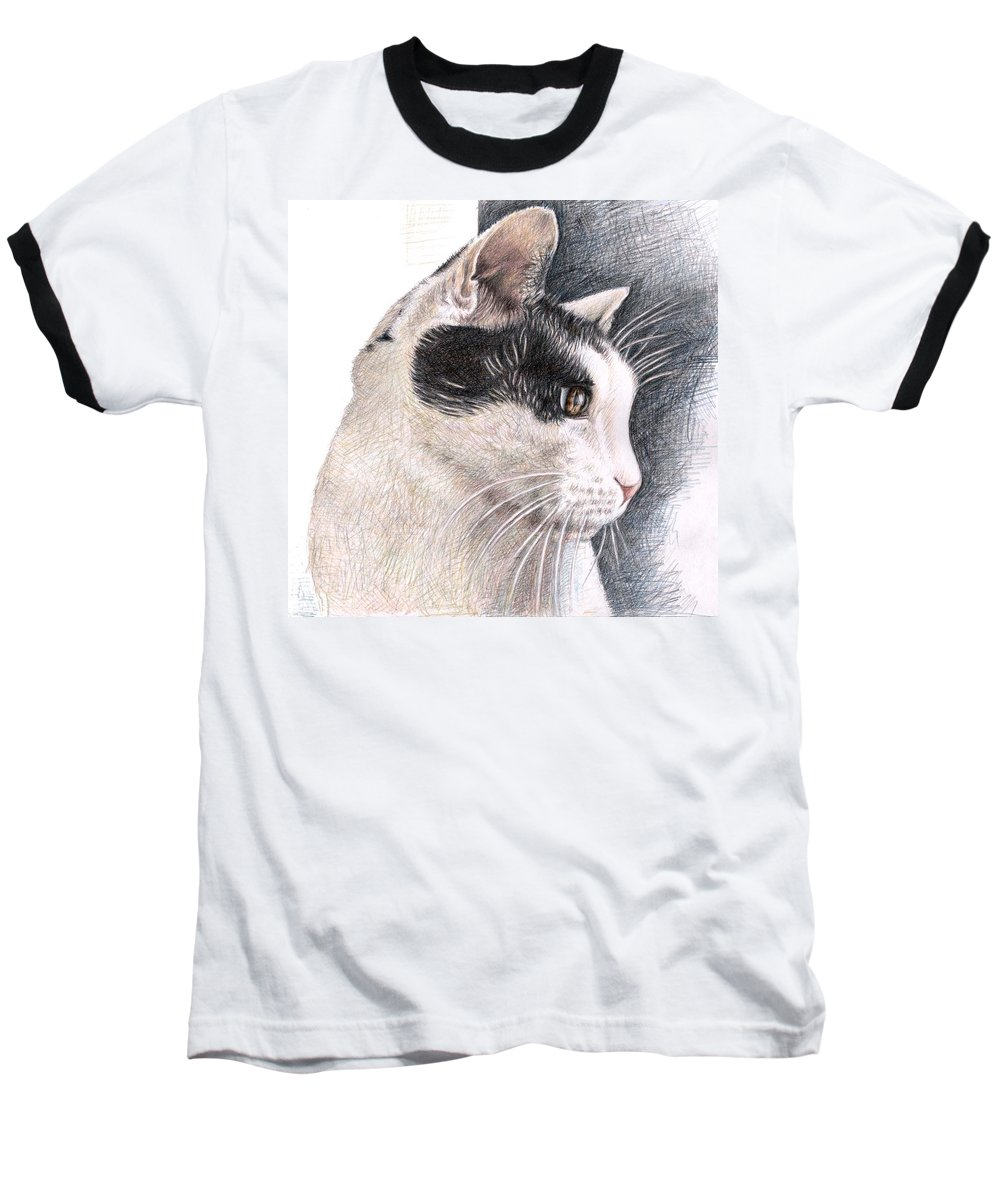 Cat Baseball T-Shirt featuring the drawing Cats View by Nicole Zeug