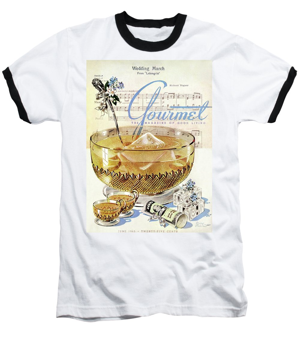 Illustration Baseball T-Shirt featuring the photograph Champagne Punch And The Wedding March by Henry Stahlhut