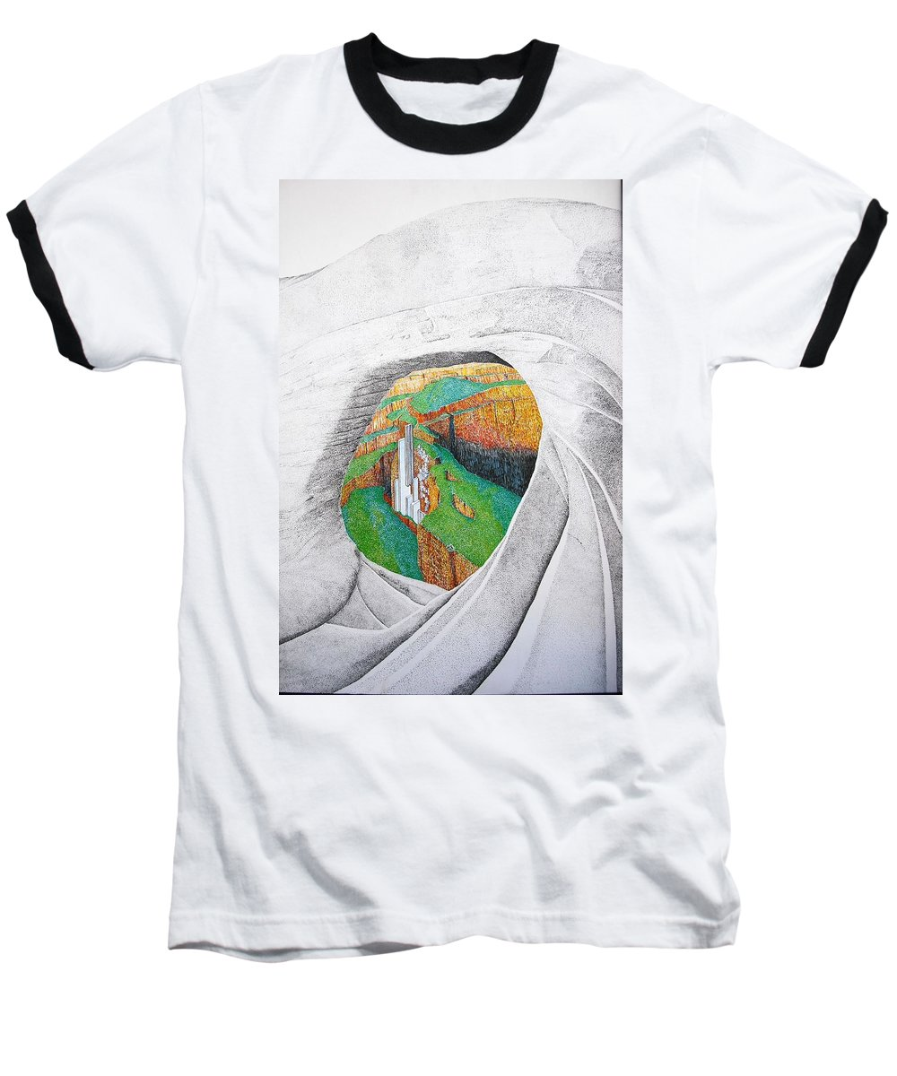Rocks Baseball T-Shirt featuring the painting Cornered Stones by A Robert Malcom