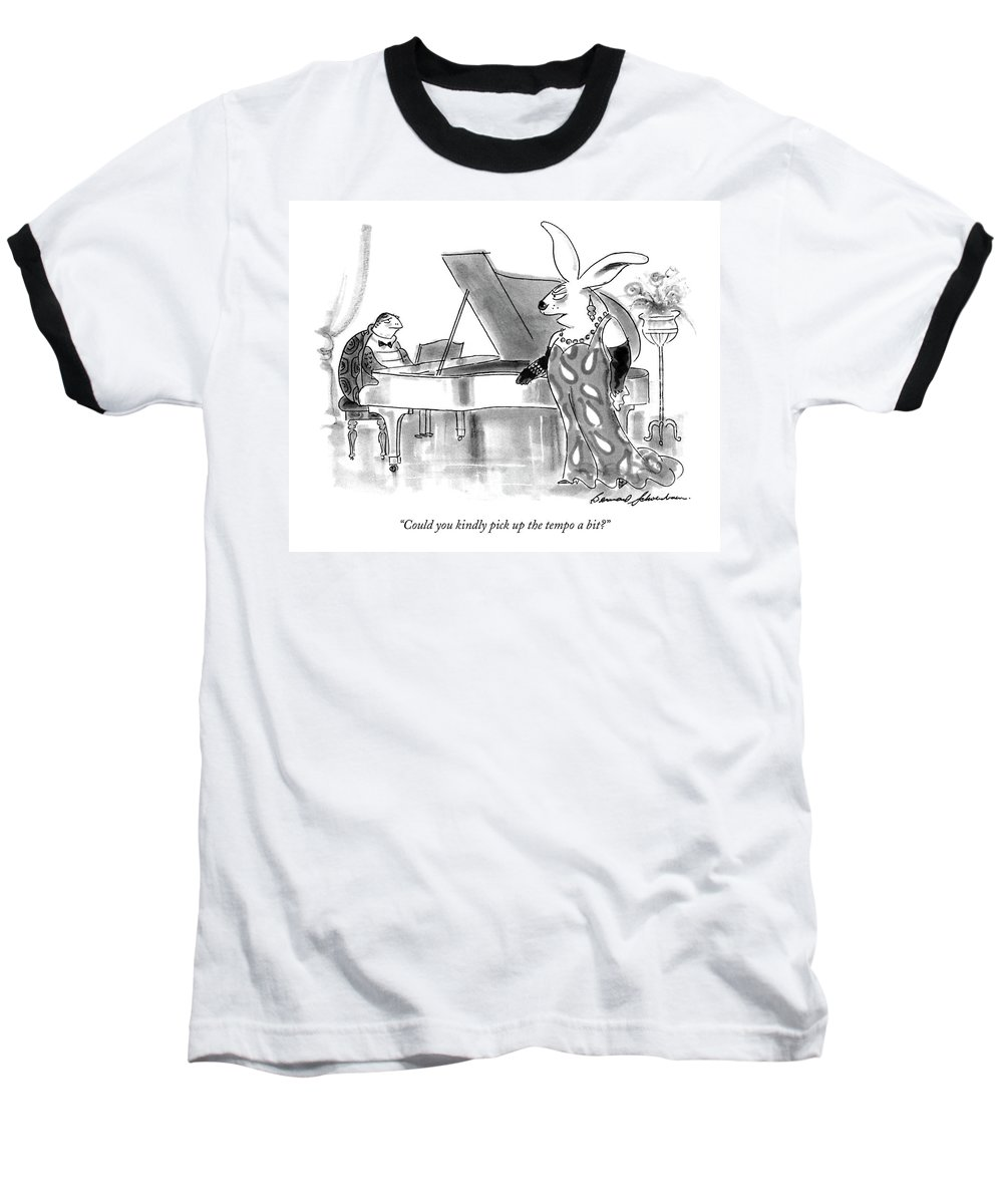 Animals Baseball T-Shirt featuring the drawing Could You Kindly Pick Up The Tempo A Bit? by Bernard Schoenbaum