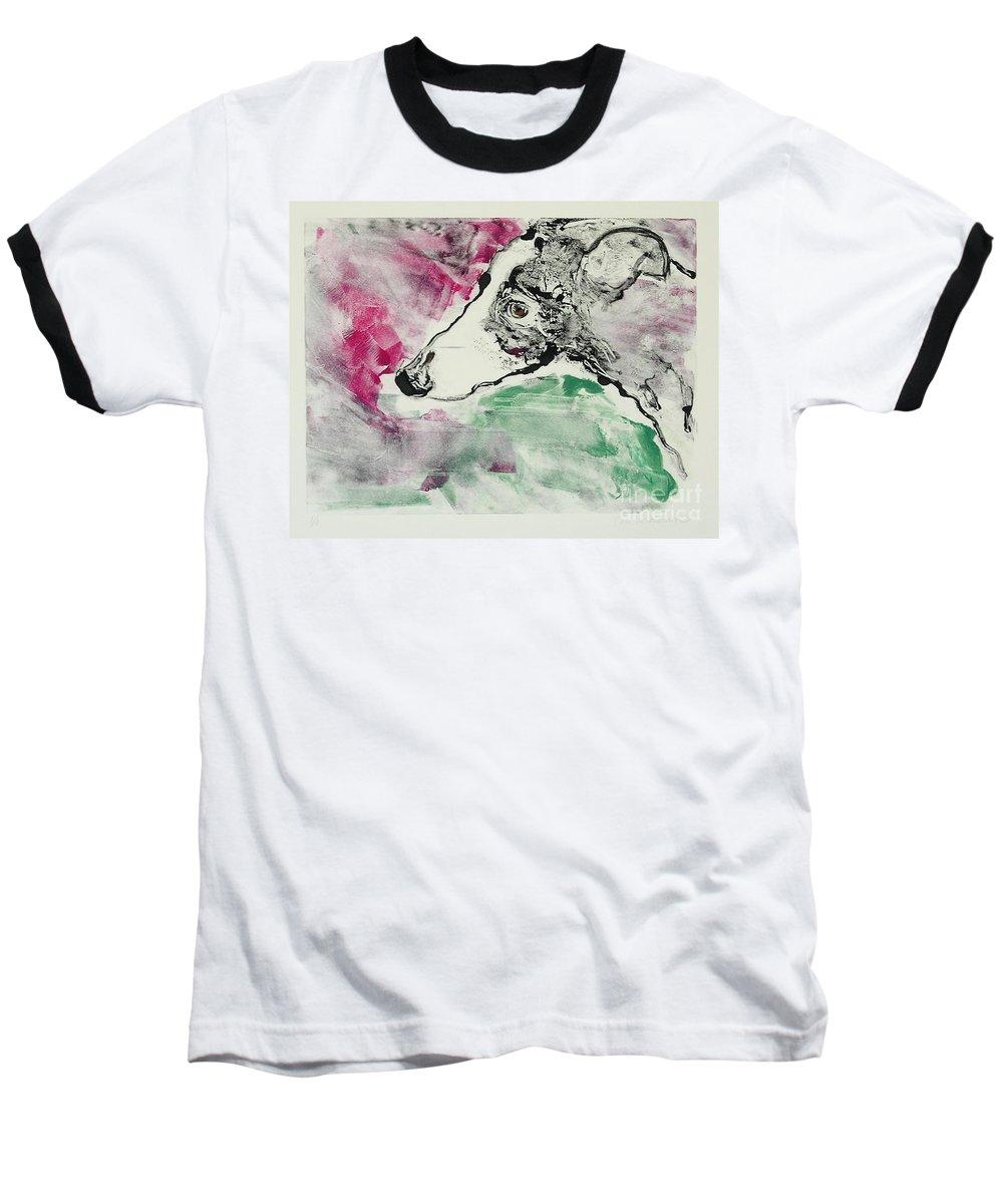 Greyhound Baseball T-Shirt featuring the painting Cyrus by Cori Solomon
