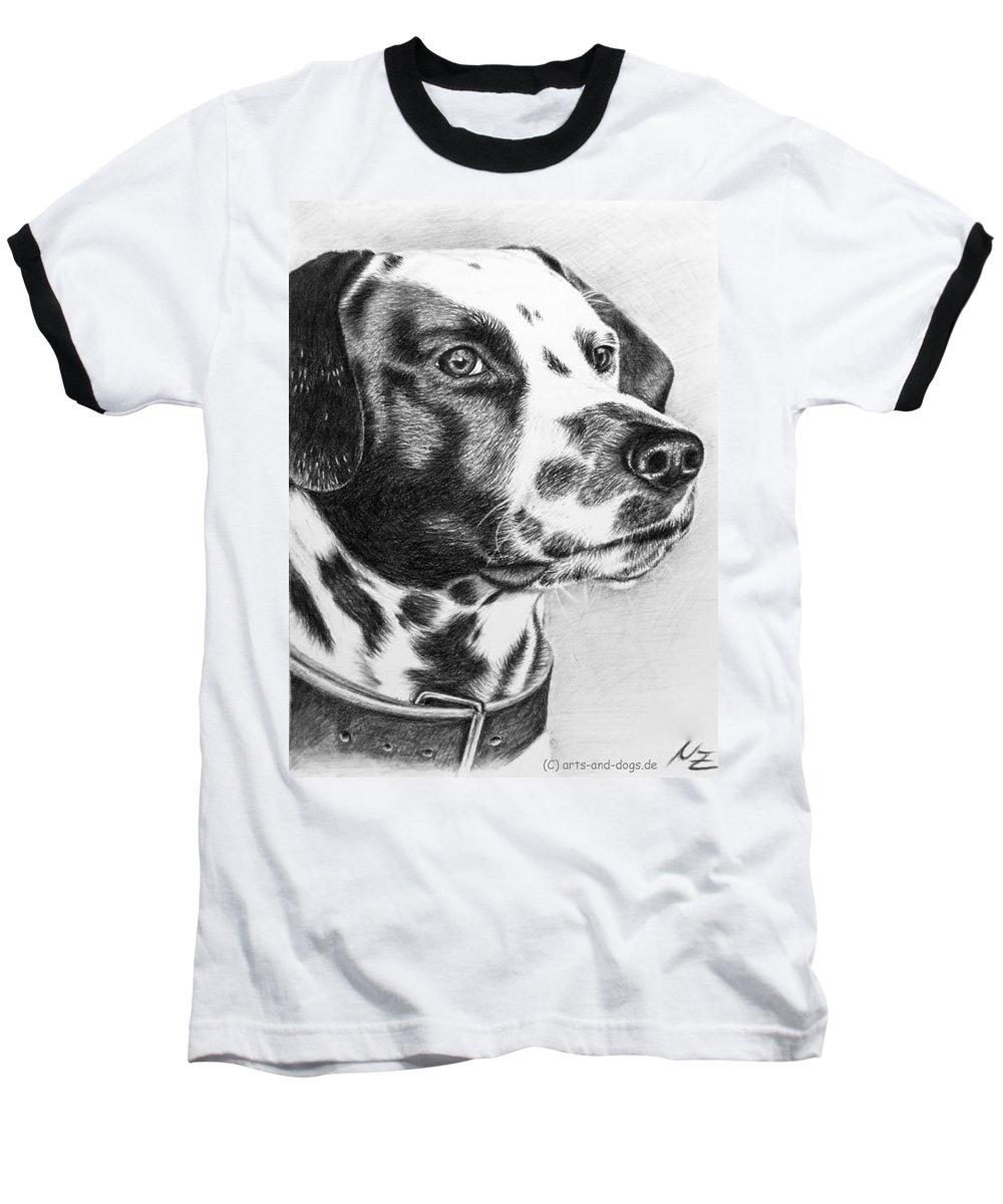Dog Baseball T-Shirt featuring the drawing Dalmatian Portrait by Nicole Zeug