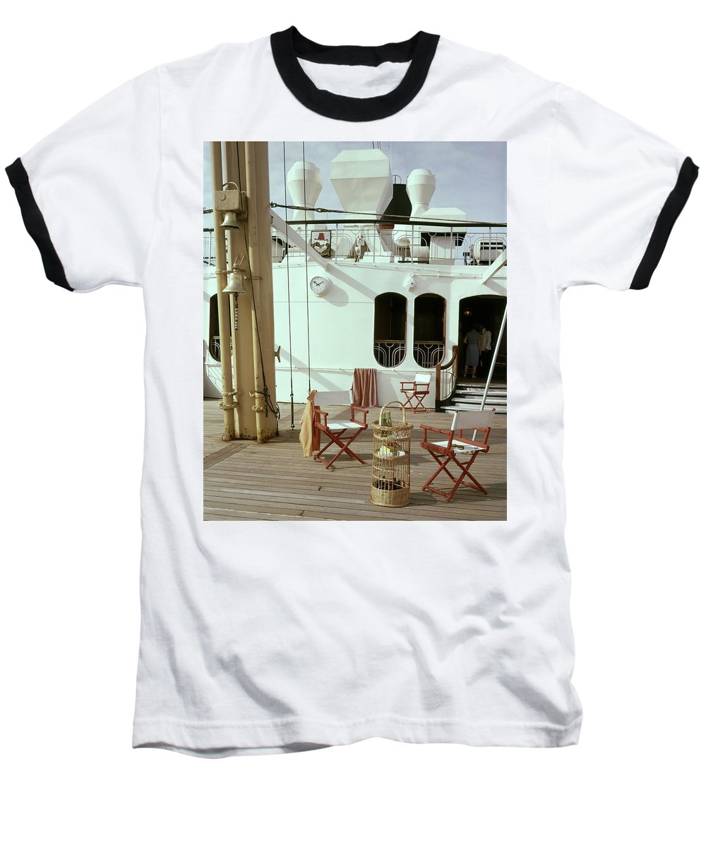Interior Baseball T-Shirt featuring the photograph Directors Chairs In Front Of The Ship The Queen by Tom Leonard