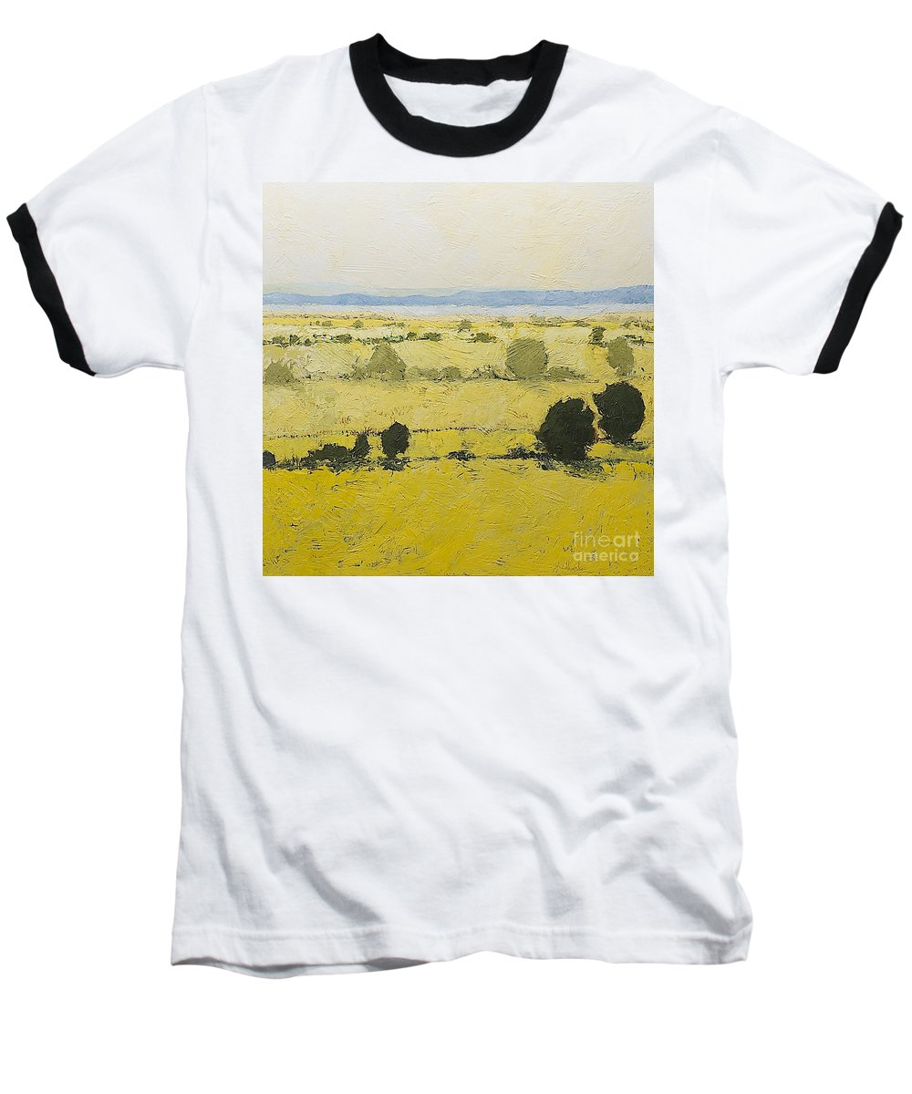 Landscape Baseball T-Shirt featuring the painting Dry Grass by Allan P Friedlander