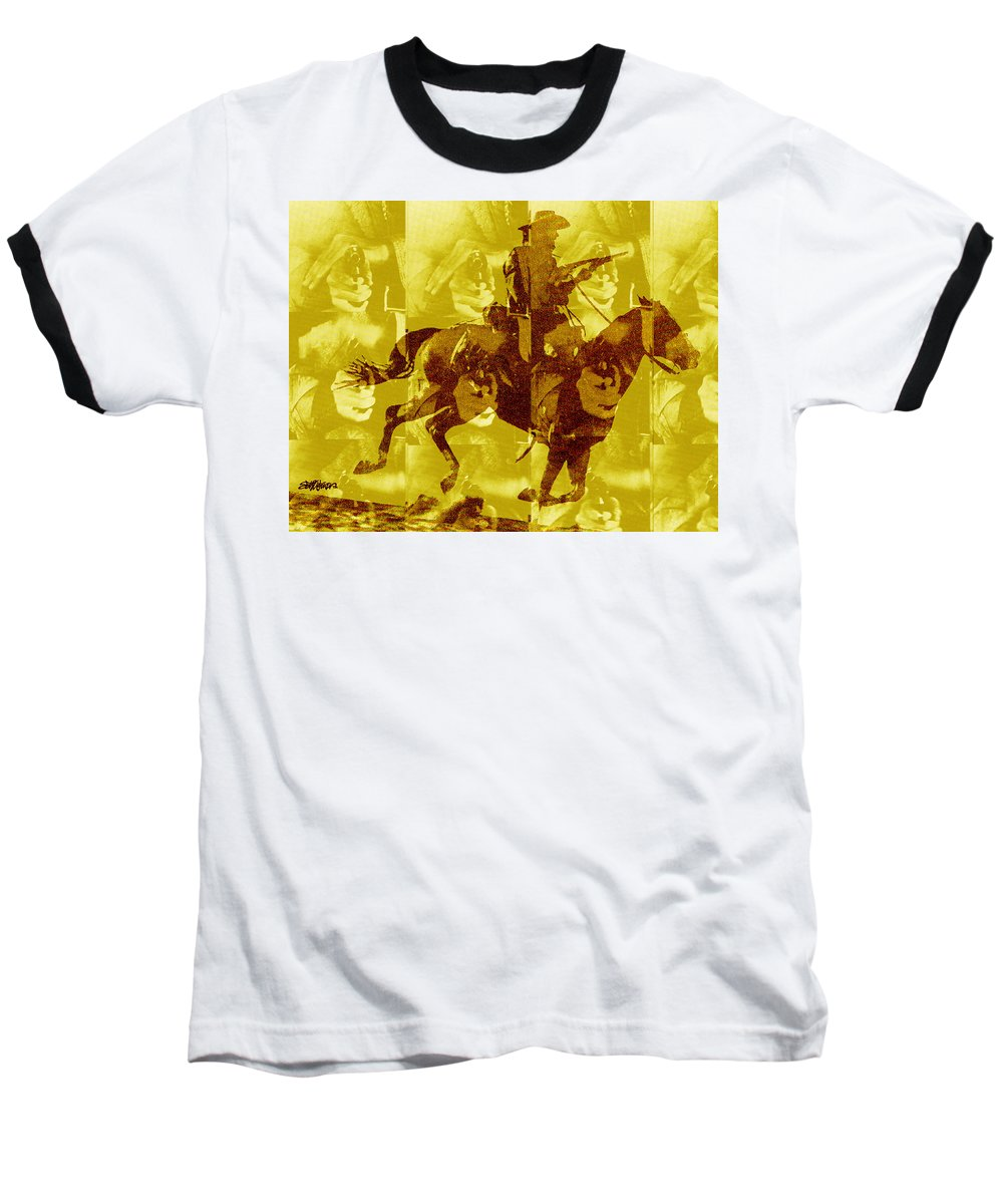Clint Eastwood Baseball T-Shirt featuring the digital art Duel In The Saddle 1 by Seth Weaver
