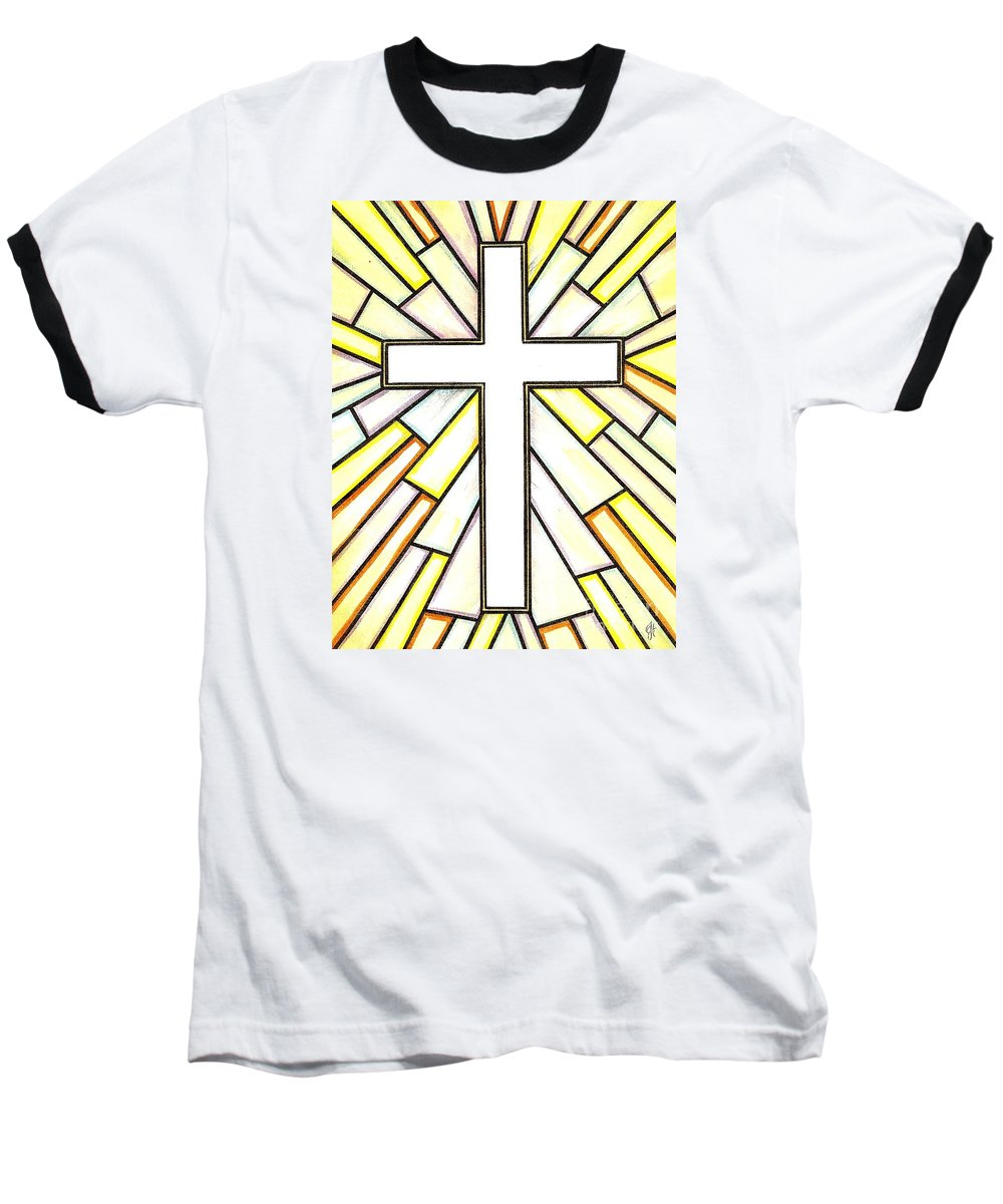 Cross Baseball T-Shirt featuring the painting Easter Cross 3 by Jim Harris