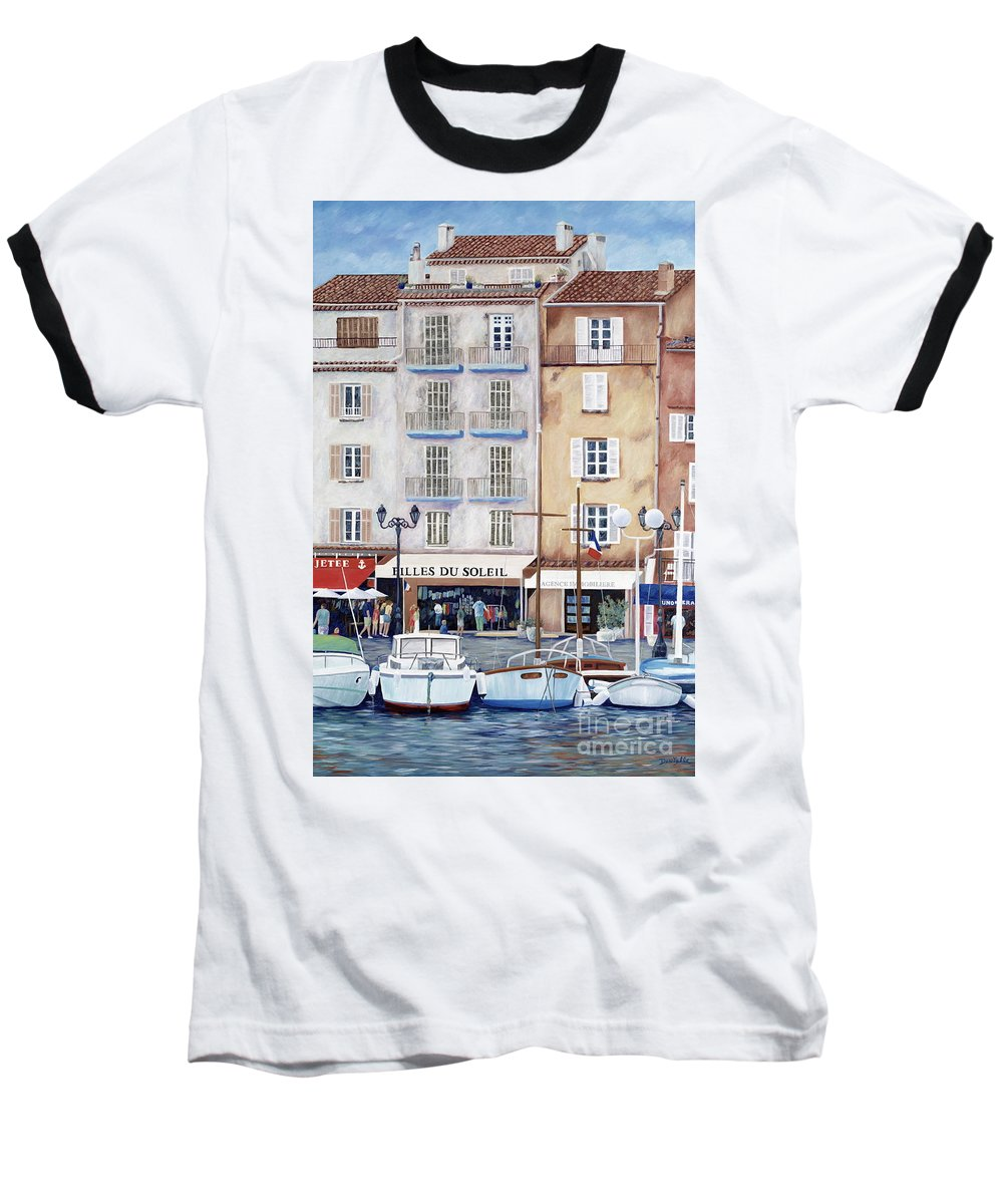 St. Tropez Baseball T-Shirt featuring the painting Filles Du Soleil by Danielle Perry